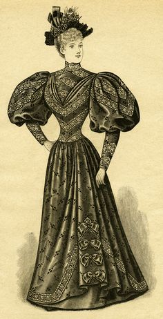 Gown clipart womens dress Fashion Victorian Edwardian dress clip