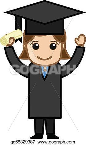 Graduation clipart academic success Graduate vector graduation illustration girl
