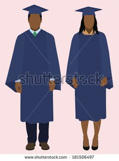 Graduation clipart african american Gown Graduates American College Stock