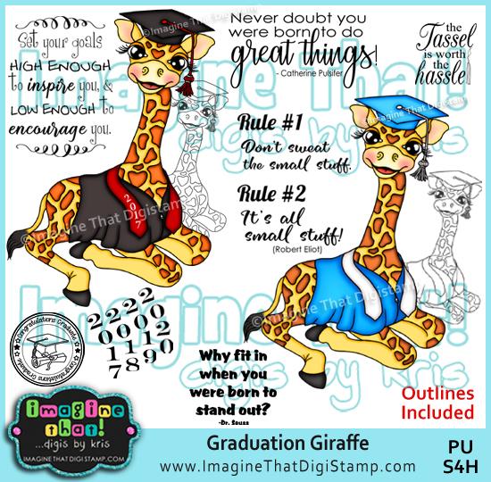 Graduation clipart giraffe Stamp digi Graduation Giraffe