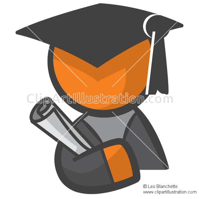 3D clipart graduation Of Graduating Orange Man Icon