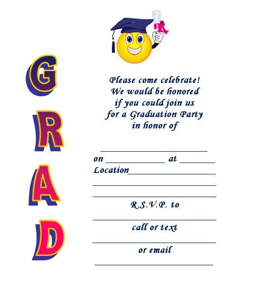 Graduation clipart graduation invitation Smiley Printable  Invite Graduation