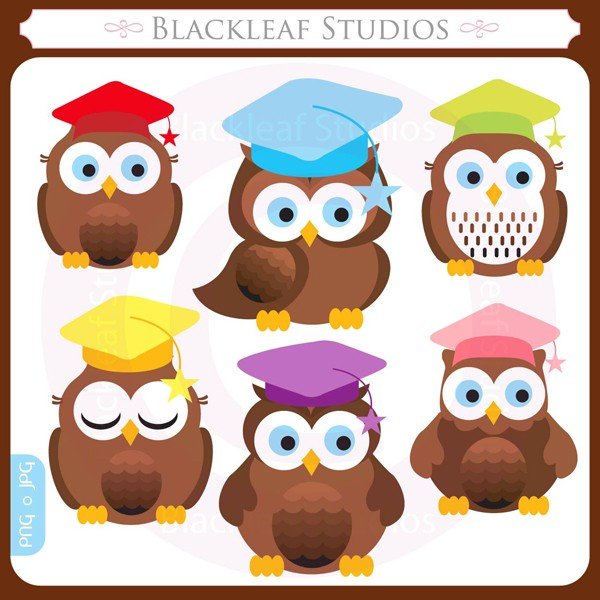 Graduation clipart owl Students set set from digital
