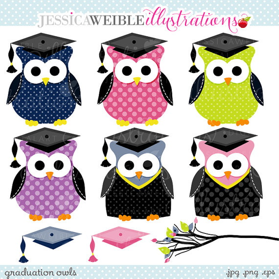 Graduation clipart owl Graduation art art JWIllustrations Cute