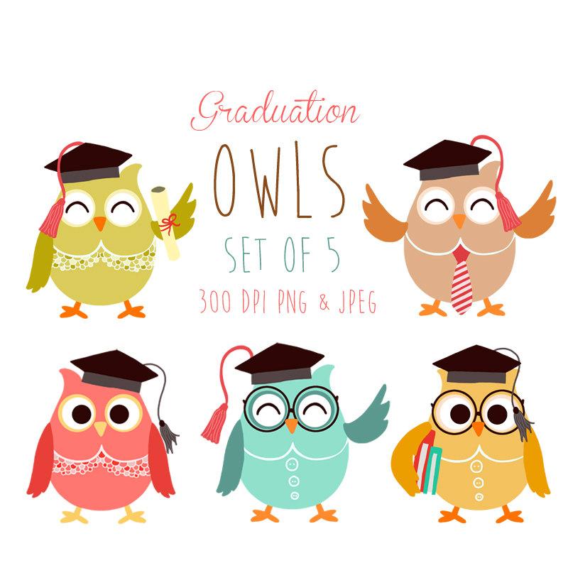 Graduation clipart owl Graduation Etsy Graduation owl Owl