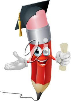 Graduation clipart pencil Hat in character Clipart holding