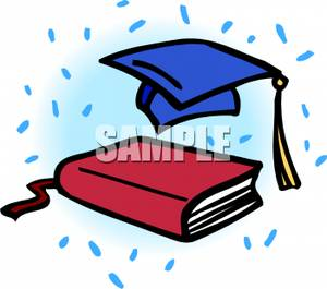 Graduation clipart school book And Book Cap Red Blue