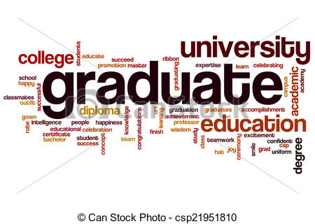 Graduation clipart the word Clipart of cloud  concept