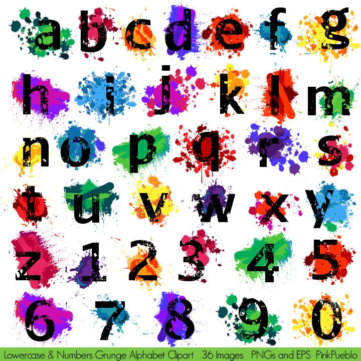 Graffiti Clipart Letters Grunge Art Paint and Splatter