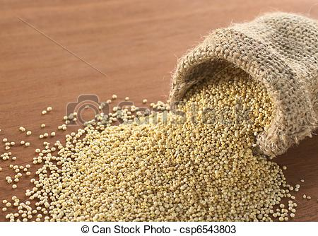 Quinoa clipart Raw on wood the sack