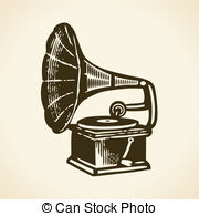 Gramophone clipart black and white Retro Gramophone 4 Old