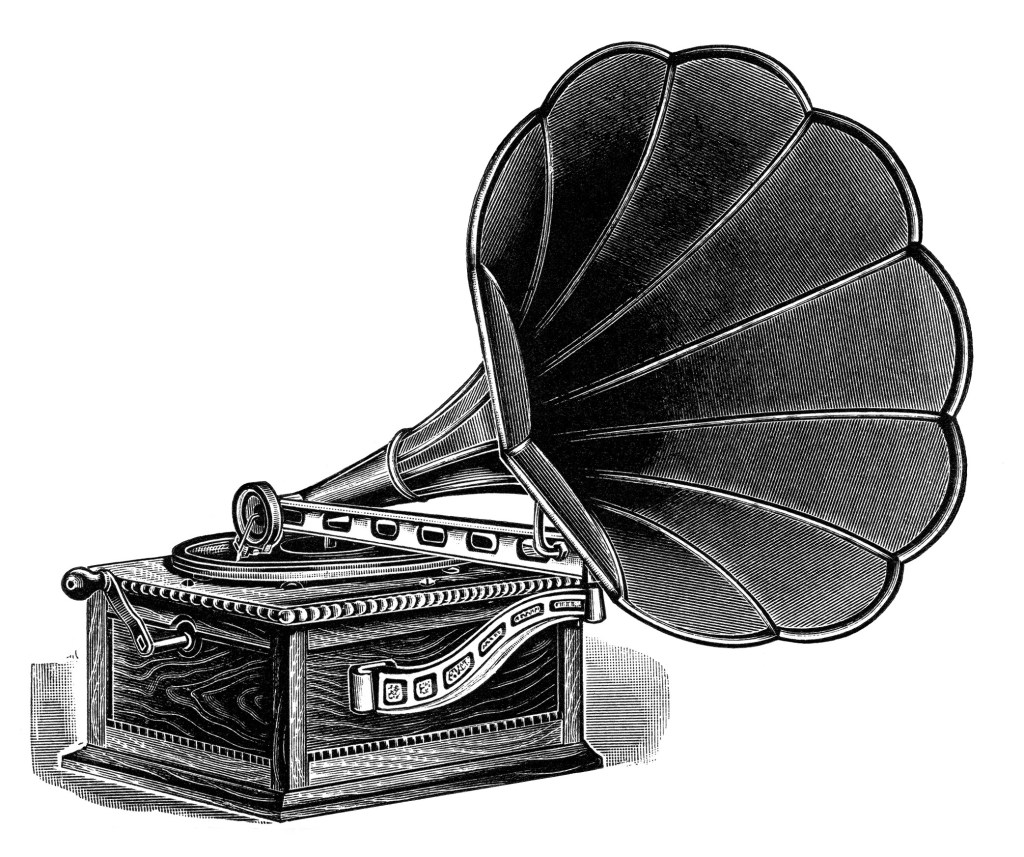 Gramophone clipart black and white Clip vintage art image image