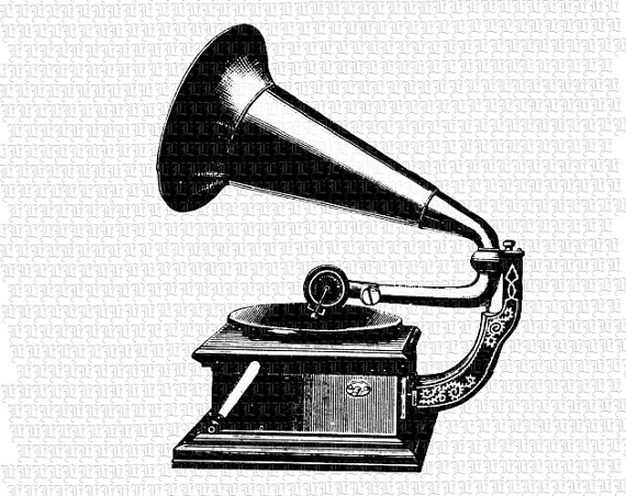 Gramophone clipart black and white On Illustrations Etsy Resolution Vintage