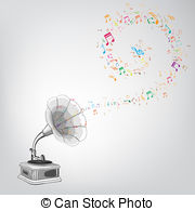 Gramophone clipart cartoon Melody gramophone Vector of Clip