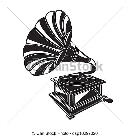 Gramophone clipart vector Musical ancient instrument csp10297020 Illustration