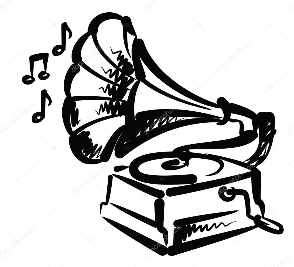 Gramophone clipart vector — gramophone Vector Stock black
