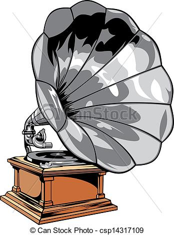 Gramophone clipart vector Gramophone old nice old isolated