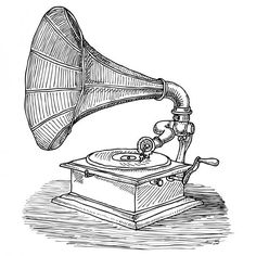Gramophone clipart victorian Vintage talking art and
