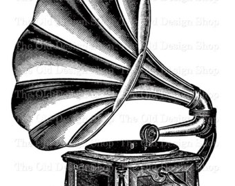 Gramophone clipart victorian Clip Record Graphophone Printable Digital