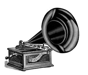 Gramophone clipart Antique clip machine talking black