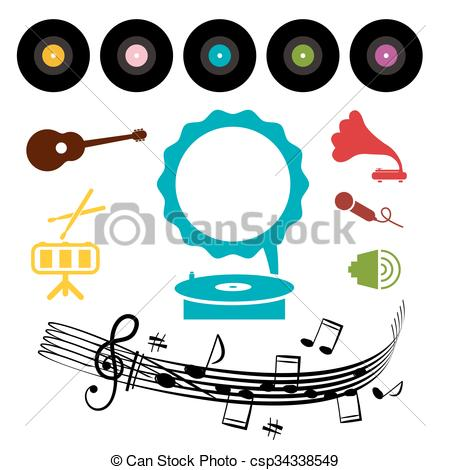 Gramophone clipart vinyl And Musical and of with