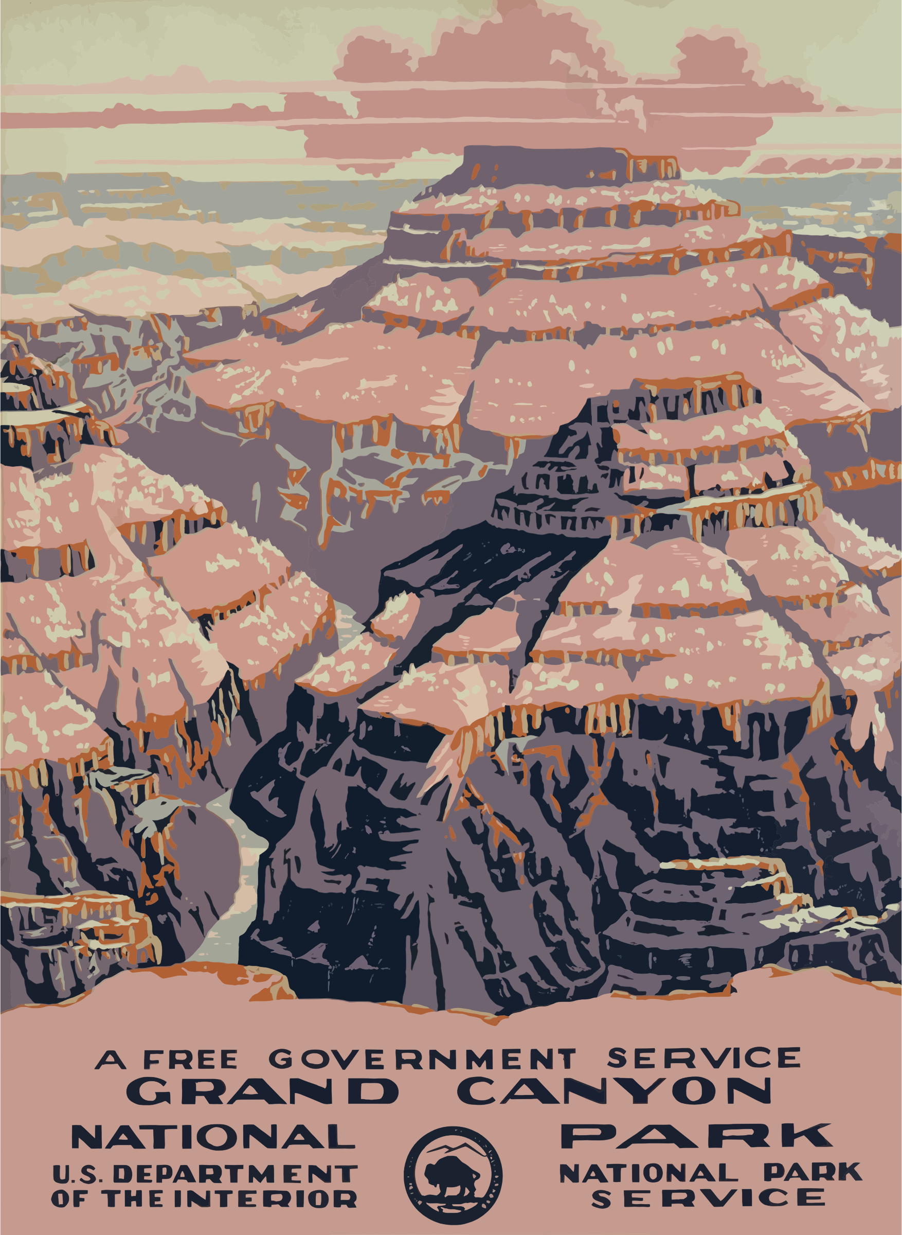 Grand Canyon clipart grans Vintage Travel Clipart Grand Poster