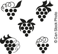 Grape clipart black and white A Vector  Illustrations art