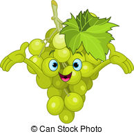 Grape clipart cartoon  Cheerful Grape EPS and