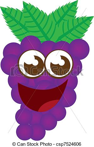 Grape clipart cartoon Vector grape cartoon grape