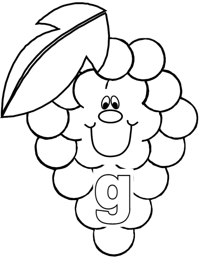 Grape clipart coloring page #8