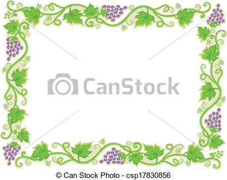 Grape clipart frame Vector of Borders Grapevine with