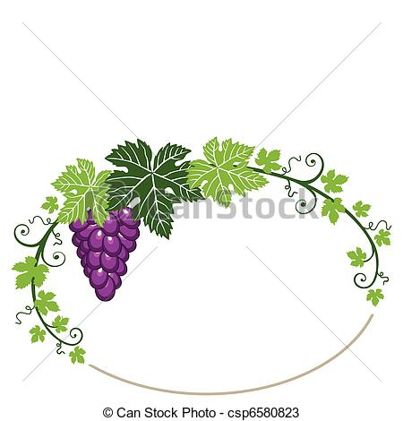 Grape clipart frame Csp6580823 Vectors leaves with frame