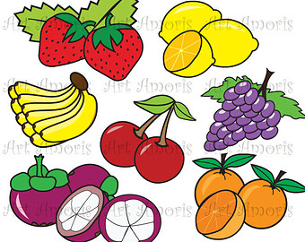Grape clipart healthy food  Kawaii Clipart Digital scrapbooking