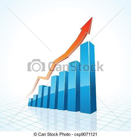 Graph clipart business growth Csp9071121 3d Vector of 3d