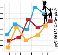 Graph clipart business growth Standing Clipart on  Vector