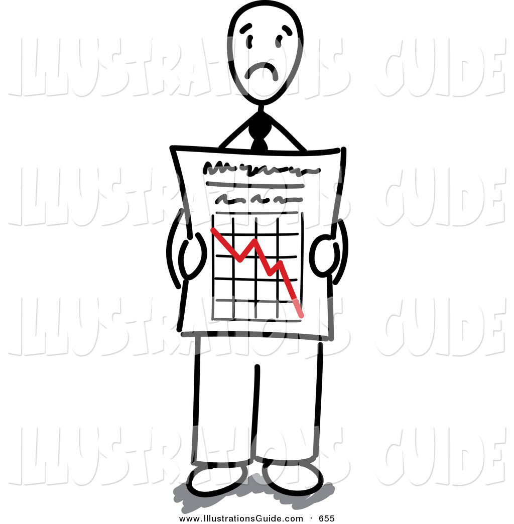 Graph clipart decline Stick  by Business Man