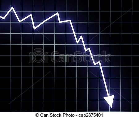Graph clipart down Graph Arrow down isolated An