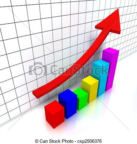 Graph clipart finance 3d colorful with and chart