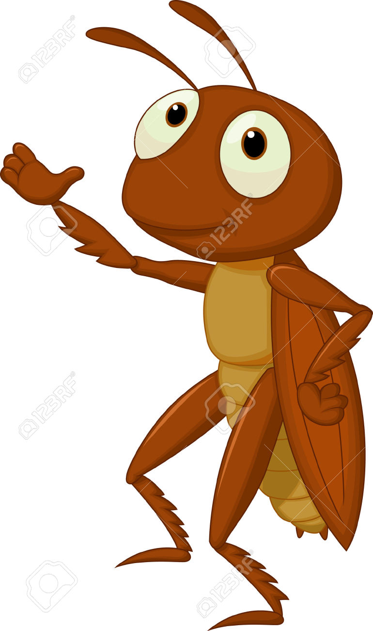 Brown clipart cricket Presenting insects Cartoon Cute animal