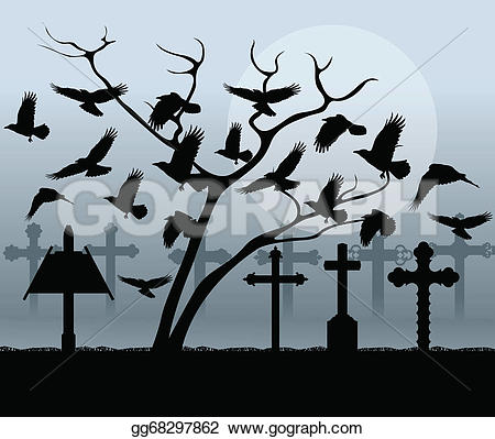 Grave clipart bird Spooky Halloween Vector vintage graveyard