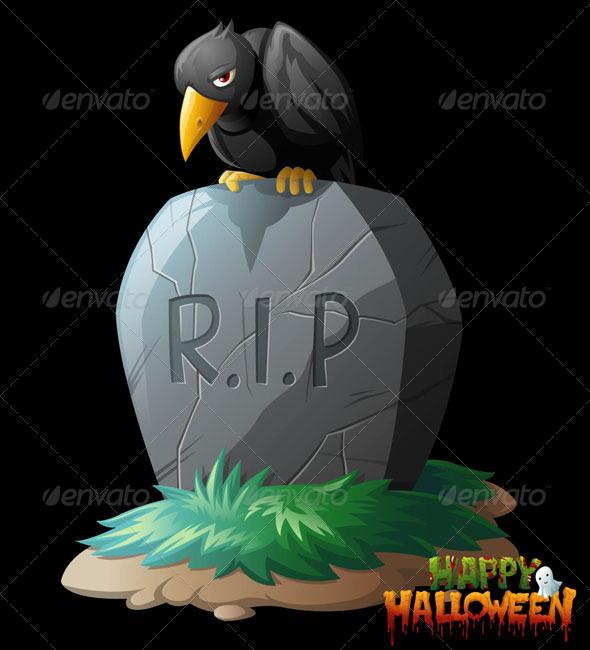 Grave clipart bird Grave on Clip Halloween Raven