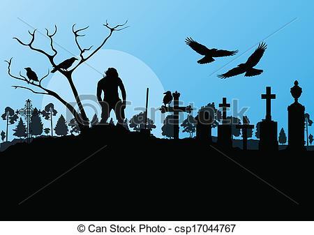 Grave clipart bird Cemetery graveyard Halloween with vintage