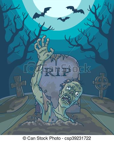 Grave clipart dead man Spooky moon vector of grave