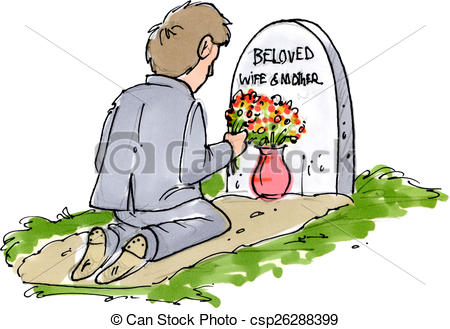 Grave clipart flower clipart A of with his at