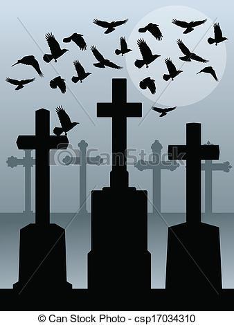 Grave clipart graveyard Raven Clip of spooky grave