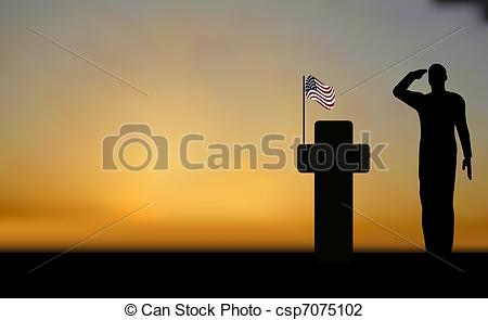 Grave clipart silhouette Army and army a saluting