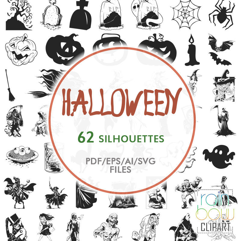 Grave clipart silhouette Signs digital Witch Halloween Sign