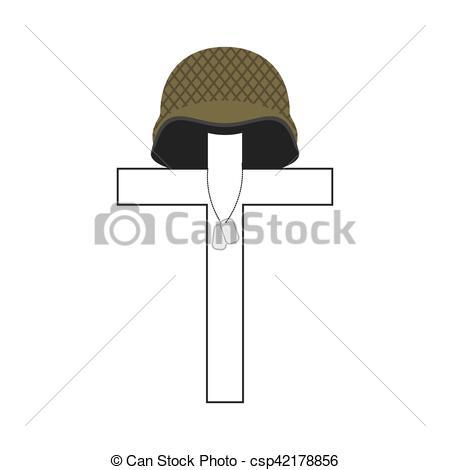 Grave clipart soldier Vector Patriotic of Cross Grave