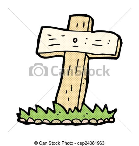 Grave clipart vector Cartoon retro Vector wooden of