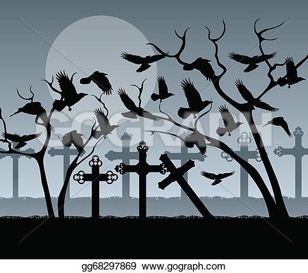 Drawn raven spooky Grave cemetery Drawing raven Art
